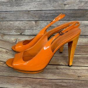 Jil Sander Orange Patent Leather Slingback Sandals